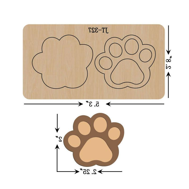 leather earrings wooden cutting die large paw