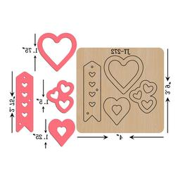Leather Earrings Wooden Cutting  Die/ Heart & Tag /Sizzix Co